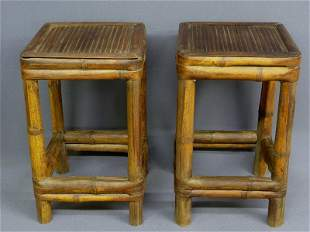 10: PAIR OF ANTIQUE PEGGED BAMBOO SMALL TABLES - Hgt 20
