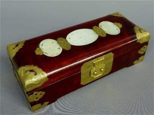 11: HARDWOOD & CARVED JADE INSET BOX having 3 jade meda