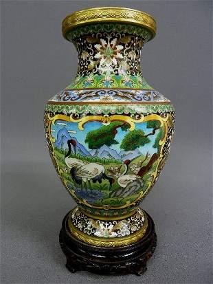 "17: Supurb Cloisonne 12"" Enamal & Brass Vase with Peaco"