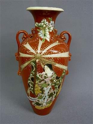 22: Large Japanese Satsuma Pottery Vase Circa 1900 with