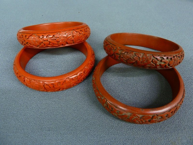 46: Two Pair of Chinese Cinnabar Lacquer Bracelets,  ca
