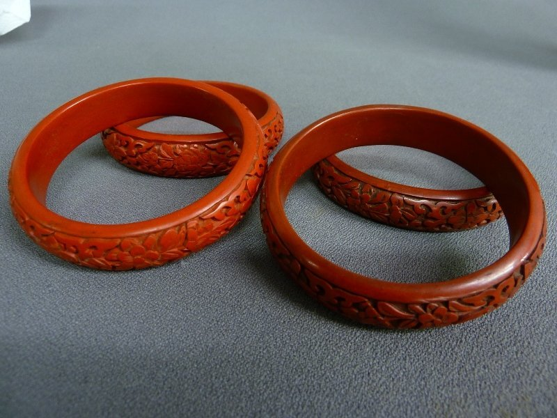 46: Two Pair of Chinese Cinnabar Lacquer Bracelets,  ca - 2