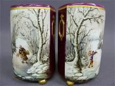 346: Pair of 19th Century Old Paris Porcelain Scenic Ha