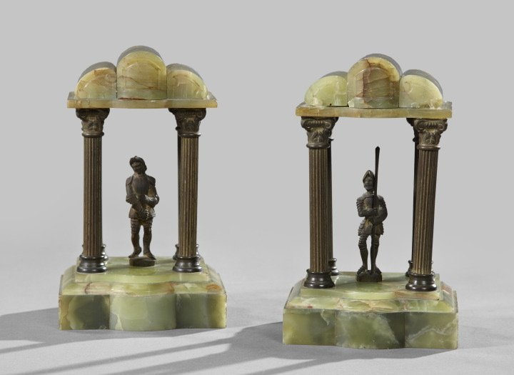 427: Pair of Green Onyx & Patinated Bookends  w/figure