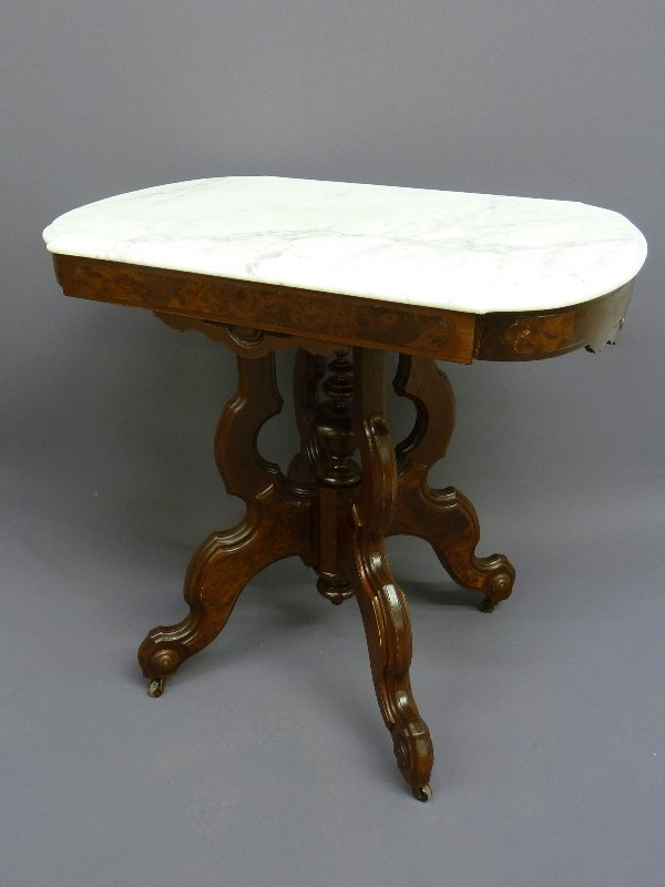 438: BURL WALNUT AMERICAN MARBLE TOP PARLOR TABLE - H 2