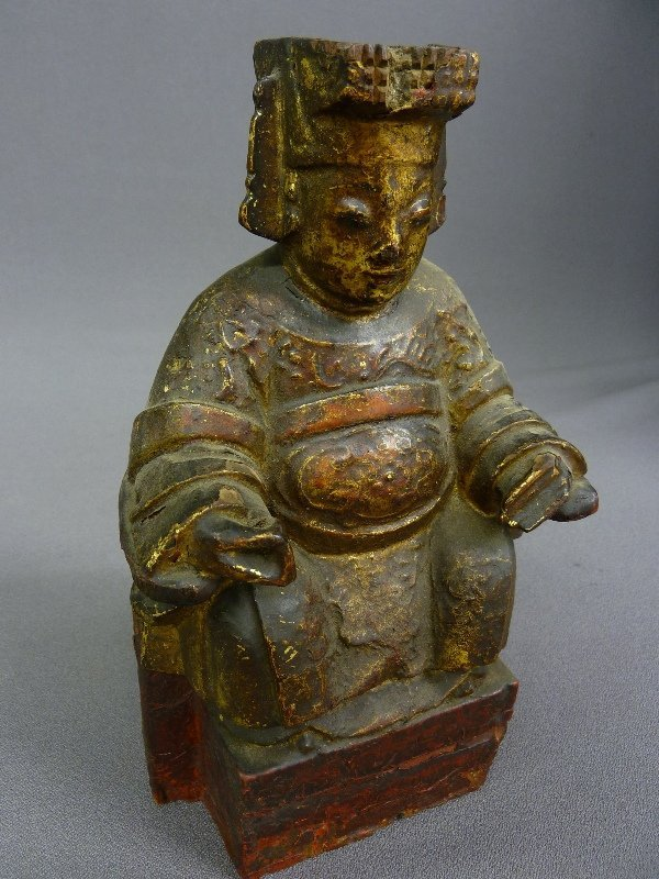 3: ANTIQUE HAND CARVED WOOD DEITY with GILT & PAINT DEC