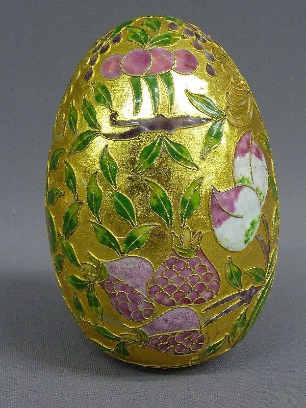 4: INTERESTING CLOISONNE METAL ENAMELED EGG - height  6