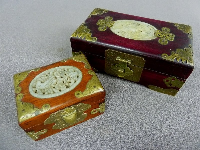 5: TWO CARVED JADE with BIRDS & BRASS DECORATED WOOD BO