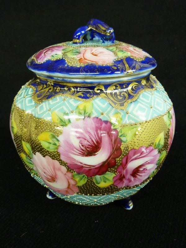8: Very Nice Unsigned Nippon Floral Decorated Round Cov