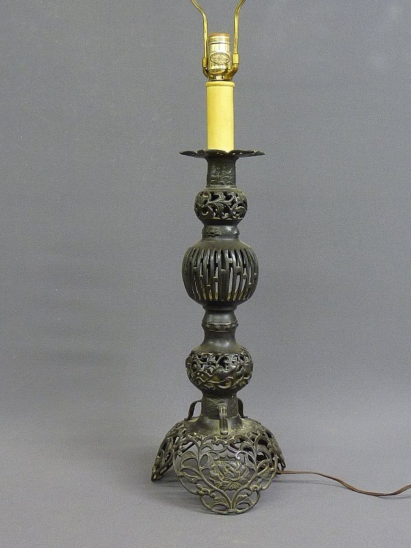 "9: CHINESE BRONZE PRICKET STICK, height  21"" , now made"