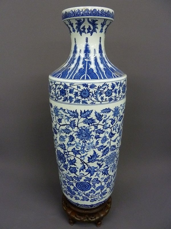 "11: Massive 40"" Chinese Porcelain Palace Urn on Carved"