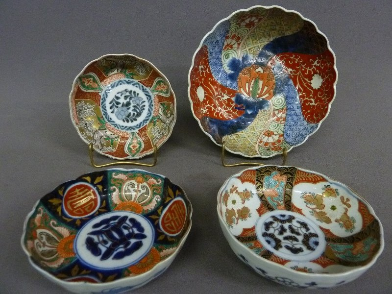 12: Four 19th Century IMARI BOWLS - three bowls  dia.