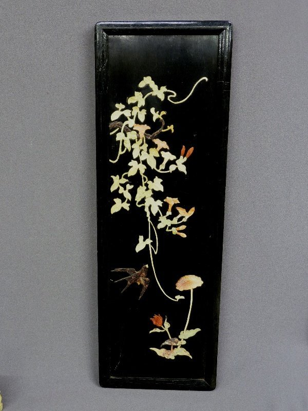 15: ASIAN BLACK LACQUER PANEL with HARDSTONE CARVINGS O