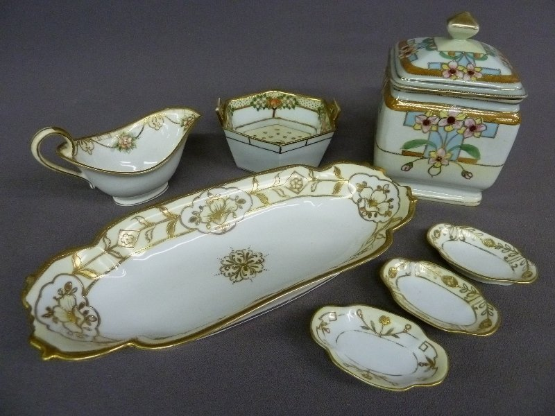 "18: 7 pieces of Signed NIPPON China including 12"" x 5"""