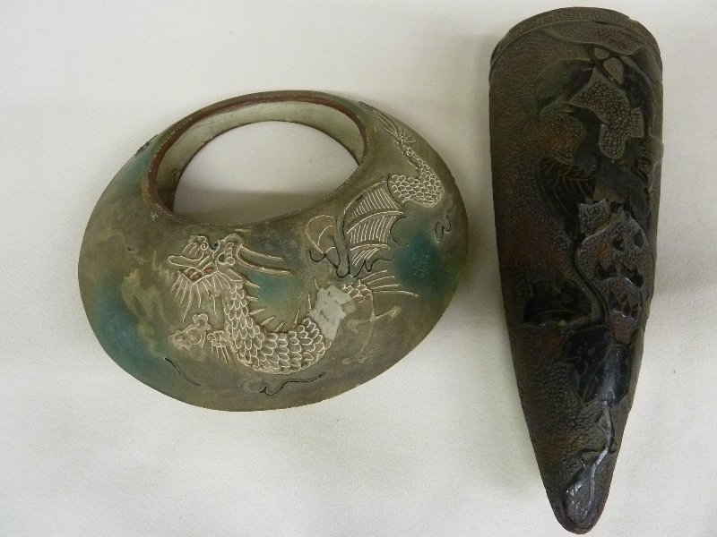 22: TWO JAPANESE POTTERY PIECES, One Wall Pocket with B