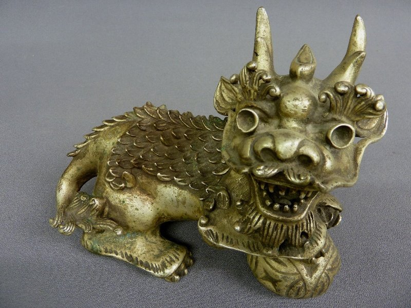 23: Nice Chinese Silvered Bronze Foo Dog with good old
