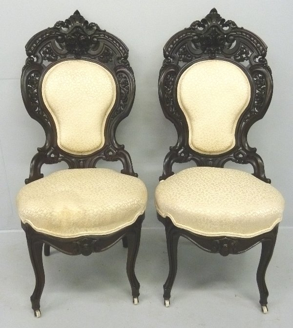 305: AMERICAN 1850'S  LAMINATED ROSEWOOD CHAIRS by J &