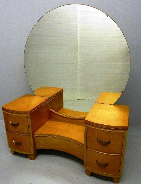 318 Vintage Mid Century Modern Blond Vanity With Round Lot 0318 - Mid Century Vanity - Globorank