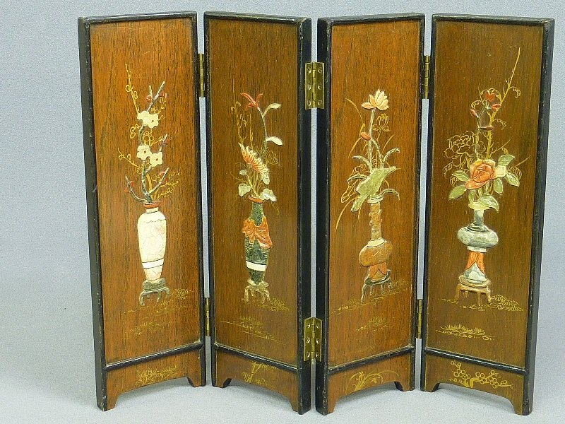 TABLE TOP CHINESE FOLDING SCREEN with COLORED HARDSTONE