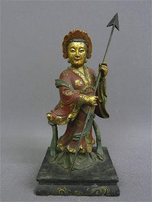 Asian Partial Gilt Hand Carved Wood Warrier with Polycr