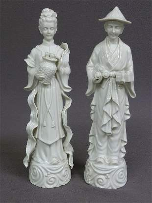 "ASIAN MAN & WOMAN BLANC-DE-CHINE FIGURES - Hgt 12"" W 3"