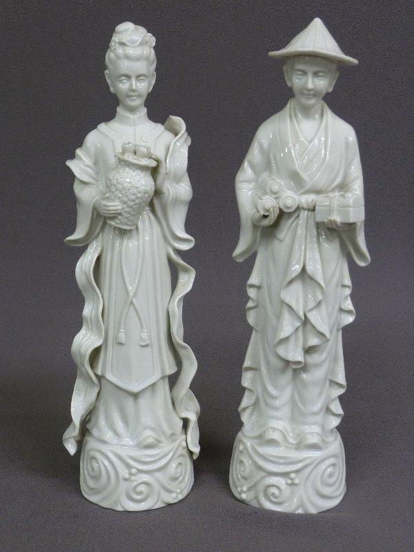 "ASIAN MAN & WOMAN BLANC-DE-CHINE FIGURES - Hgt 12"" W 3"