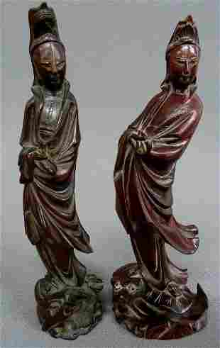 Two Carved Chinese Wooden Figures of Guan Yin one with