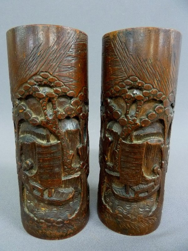 PAIR OF  CHINESE CARVED TALL BAMBOO BRUSH POTS with Ink