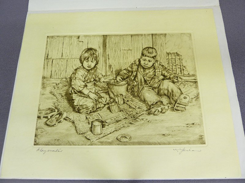 Original Japanese Etching with Plate Mark of 2 Children