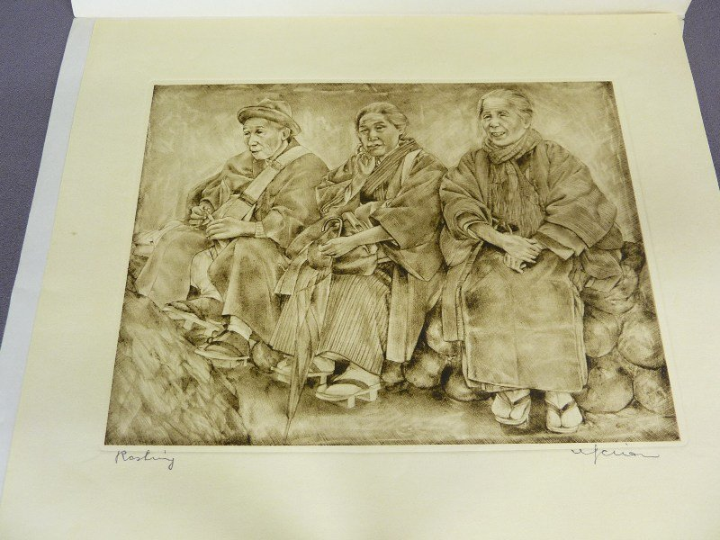 Original Japanese Etching with Plate Mark of Man & 2 Wo