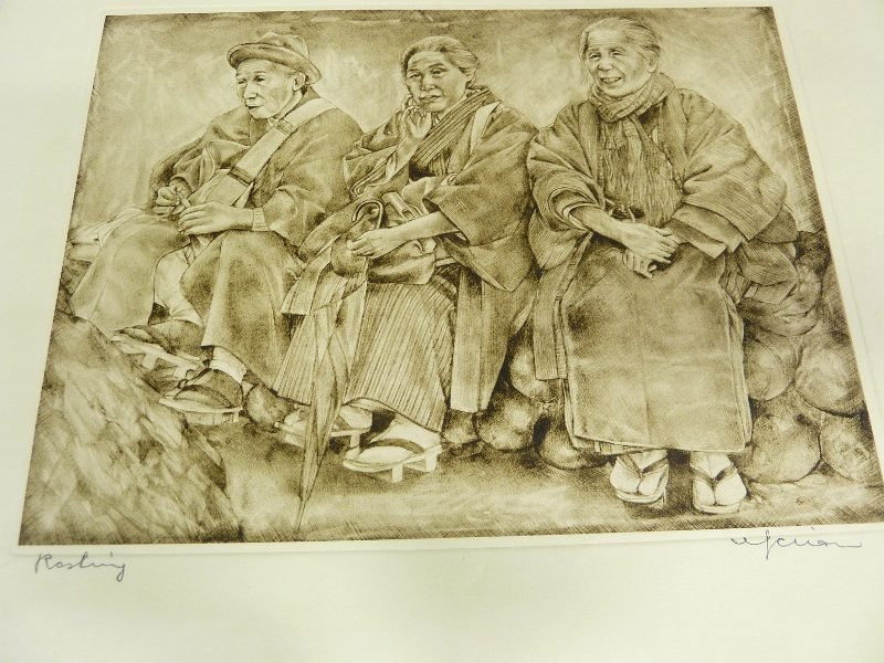 Original Japanese Etching with Plate Mark of Man & 2 Wo - 2