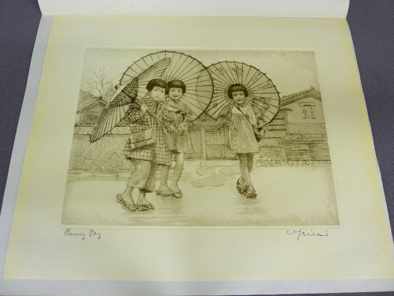 Original Japanese Etching with Plate Mark of 3 Girls wi