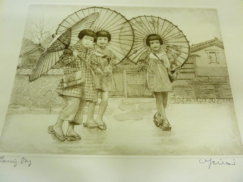 Original Japanese Etching with Plate Mark of 3 Girls wi - 2