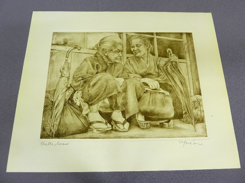 Original Japanese Etching with Plate Mark of 2 Woman si