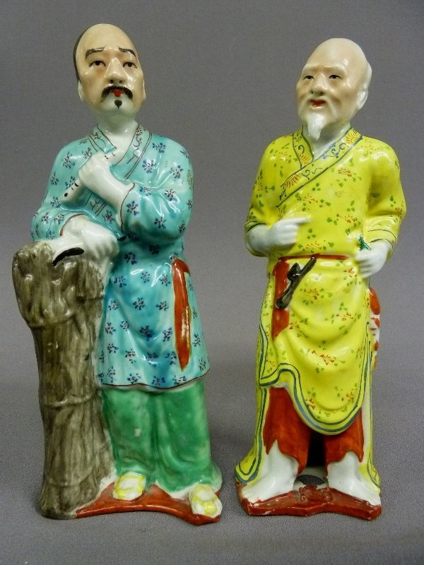 Circa 1900 Two Signed China Porcelain Figures of Two Me