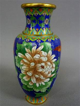 "CLOISONNE ENAMEL VASE WITH FLORAL DÉCOR - height  10"" d"