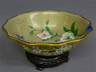 Chinese Cloisonne Floral Bowl on Stand with Bird - dia.