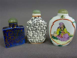 Three Signed Chinese Porcelain Snuff Bottles with Jade
