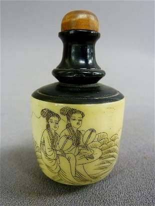Asian Ebony and Bone Carved Snuff Bottle with Two Woman