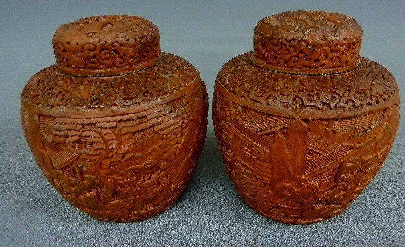 PAIR OF Circa 1900 ANTIQUE CHINESE CINNABAR COVERED JAR