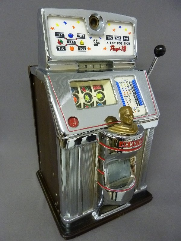 Circa 1940's Jennings Governor 25 Cent Slot Machine Tic