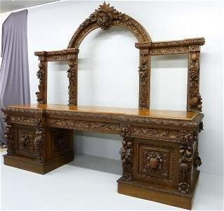 Massive Heavily Carved Oak Sideboard with Massive Fruit