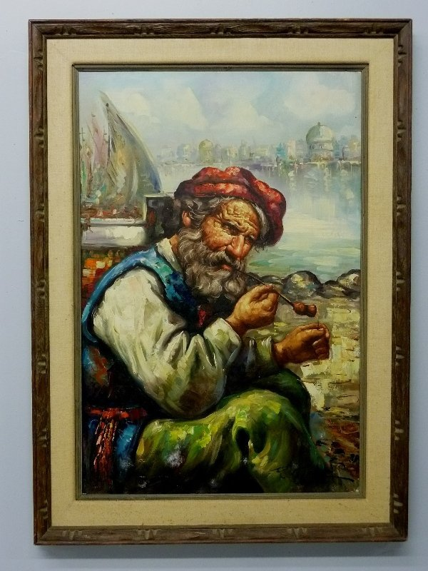 Large Oil Painting on Canvas of Old Man Smoking Pipe Si