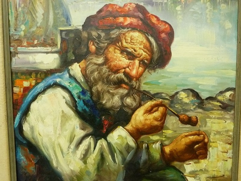Large Oil Painting on Canvas of Old Man Smoking Pipe Si - 3