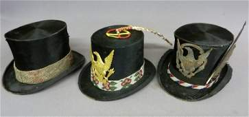 Three Beaver Top Hats Worn by Native Americans - Two a