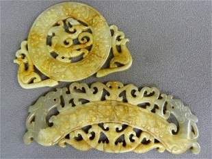 Two Carved Jade Chinese Dragon and Fish Decorated