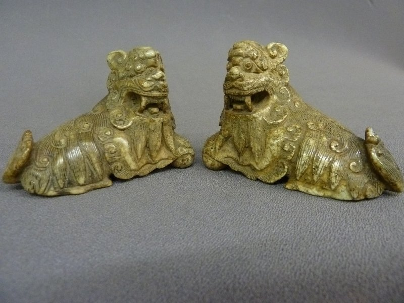 "Two Chinese Carved Jade Animals - 3.35"" x 2.5"" x 1.5"""