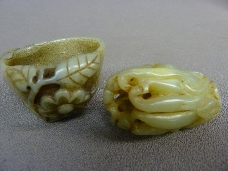 "Two Chinese Carved Jade Objects - largest 2.25"" x 2.25"""