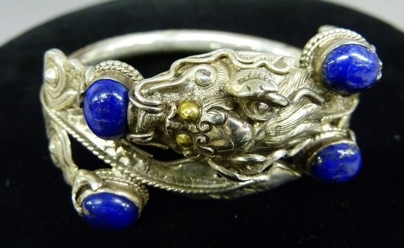 Very Unusual Sterling Silver Chinese Dragon Motif - 2