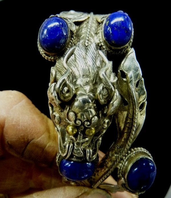 Very Unusual Sterling Silver Chinese Dragon Motif - 4